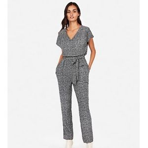 Express black and white short sleeve jumpsuit